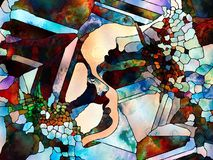 Fragmented Fusion of Our Souls. Stained Glass Forever series. Human profiles depicted with organic line patters signifying complexity of inner lives, diversity Royalty Free Stock Photography