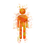 Fragmented mosaic man, stick figure vector Stock Photography
