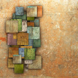 Fragmented multiple color square tile grunge pattern backdrop Stock Image