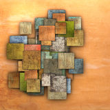 Fragmented multiple color square tile grunge pattern backdrop Royalty Free Stock Image