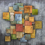 Fragmented multiple color square tile grunge pattern backdrop Stock Photos