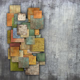 Fragmented multiple color square tile grunge pattern backdrop Royalty Free Stock Photo