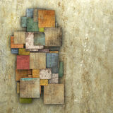 Fragmented multiple color square tile grunge pattern backdrop Stock Images