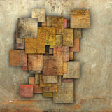 Fragmented multiple color square tile grunge pattern backdrop Stock Photo