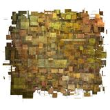 Fragmented orange,pink and yellow square grunge pattern Stock Photo