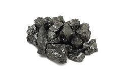 Fragmented pieces of coal. On a white background Royalty Free Stock Photos