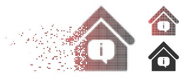Fragmented Pixel Halftone Hint Building Icon. Vector hint building icon in dissolved, pixelated halftone and undamaged whole versions. Disintegration effect Stock Image