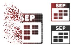 Fragmented Pixel Halftone September Calendar Grid Icon. Vector September calendar grid icon in dispersed, pixelated halftone and undamaged entire variants Stock Illustration