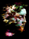 Fragmented Thoughts. Surreal digital art of human head with clumps of paint on the subject of mental life, dreams, memory, consciousness, creativity and Stock Images
