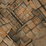 Fragmented tiled mosaic labyrinth interior in rusty orange Stock Photos
