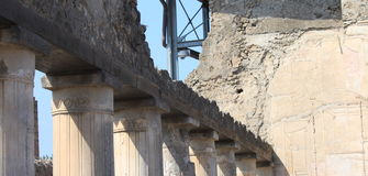 Fragmenten van de ruïnes van Pompei De oude Roman stad in Italië stierf aan uitbarsting van de Vesuvius Stock Foto's