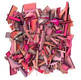 fragmenterade modellrosa färger för abstrakt begrepp 3d form Arkivbilder
