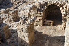 Fragmentet av kloster av St Euthymius fördärvar lokaliserat i Adumim för mor`-öl den industriella zonen i Israel Royaltyfri Fotografi