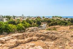 Fragmentet av utgrävningar i det arkeologiskt parkerar av Paphos, Cypern royaltyfri fotografi