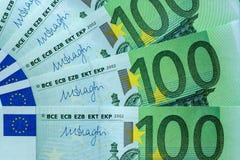 Fragmento abstracto el billete de banco de 100 euros Fotografía de archivo libre de regalías