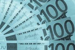 Fragmento abstracto el billete de banco de 100 euros Imagen de archivo