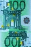 Fragmento abstracto el billete de banco de 100 euros Imagen de archivo libre de regalías