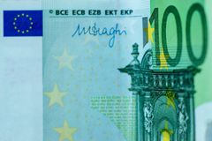 Fragmento abstrato a cédula de 100 euro Foto de Stock