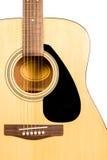 Fragmento clássico da guitarra acústica com cordas e roseta do soundboard Fotografia de Stock Royalty Free