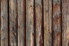 Fragmento da cerca marrom velha de madeira Fotografia de Stock