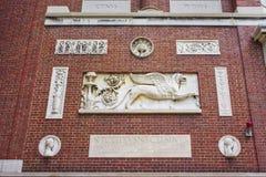 Fragmento da construção da Universidade de Harvard na jarda de Harvard em Cambr Fotografia de Stock