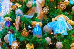 Fragmento da decoração da árvore de Natal Fotos de Stock Royalty Free