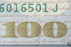 Fragmento da edição 2013 nova da cédula do dólar americano 100 Foto de Stock