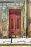 Fragmento da fachada da casa porto portugal foto de stock