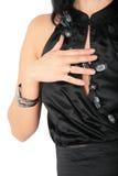 Fragmento da mulher no vestido preto Imagens de Stock Royalty Free