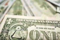 Fragmento da nota de dólar Dólar americano do dinheiro Imagens de Stock