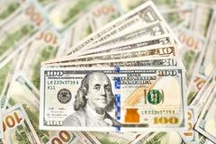 Fragmento da nota de dólar Dólar americano do dinheiro Fotografia de Stock