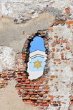 Fragmento da sinagoga na diferença da parede velha, Riga (Letónia) fotos de stock royalty free