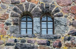 Fragmento das paredes de pedra antigas da cidade do castelo de Vyborg Foto de Stock Royalty Free