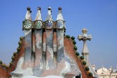Fragmento de la azotea de Batllo de las casas de Antonio Gaudi. Imagen de archivo libre de regalías