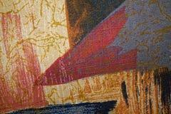 Fragmento de la materia textil colorida retra de la tapicería con el ornamento del vintage útil como fondo Imagen de archivo