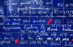 Fragmento de la pared del amor en París Imagenes de archivo