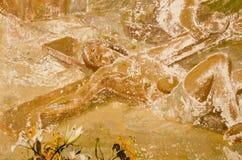 Fragmento de la pintura mural de los religiuos de la vendimia Fotografía de archivo