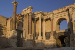 Fragmento de las ruinas de Romans Amphiteatron en Beit She ' (Scythopol foto de archivo libre de regalías