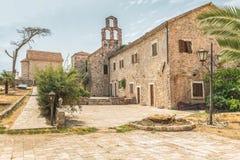 Fragmento de los edificios de la ciudad vieja de Budva, Montenegro La primera mención de esta ciudad es hace más de 2600 años Fotos de archivo libres de regalías