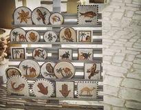 Fragmento de los paneles del mosaico con floral, animalista y el arquitecto Fotos de archivo libres de regalías
