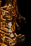 Fragmento de um saxofone Fotos de Stock Royalty Free