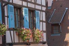 Fragmento de uma casa half-timbered, Colmar, France Imagem de Stock Royalty Free