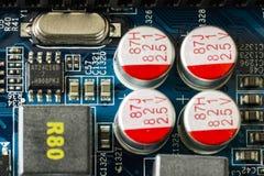 Fragmento de uma placa do computador A vista da parte superior Fim acima fotos de stock royalty free
