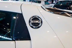 Fragmento de un coche de deportes híbrido enchufable mediados de-engined Porsche 918 Spyder, 2015 Foto de archivo