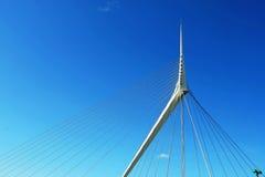 Fragmento de un puente de suspensión moderno de la cuerda. Imagen de archivo