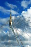 Fragmento de un puente de suspensión moderno de la cuerda. Fotos de archivo