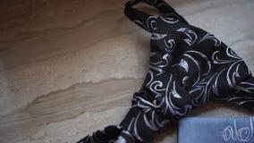 Fragmento de una camisa del ` s de los hombres con un lazo en piso lazo y pañuelo del ` s de los hombres Los trajes del ` s de lo Fotos de archivo