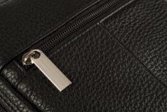 Fragmento del bolso de cuero imagen de archivo