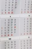 Fragmento del calendario Fotografía de archivo