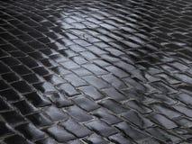 Fragmento del camino cobbled mojado Imagen de archivo libre de regalías